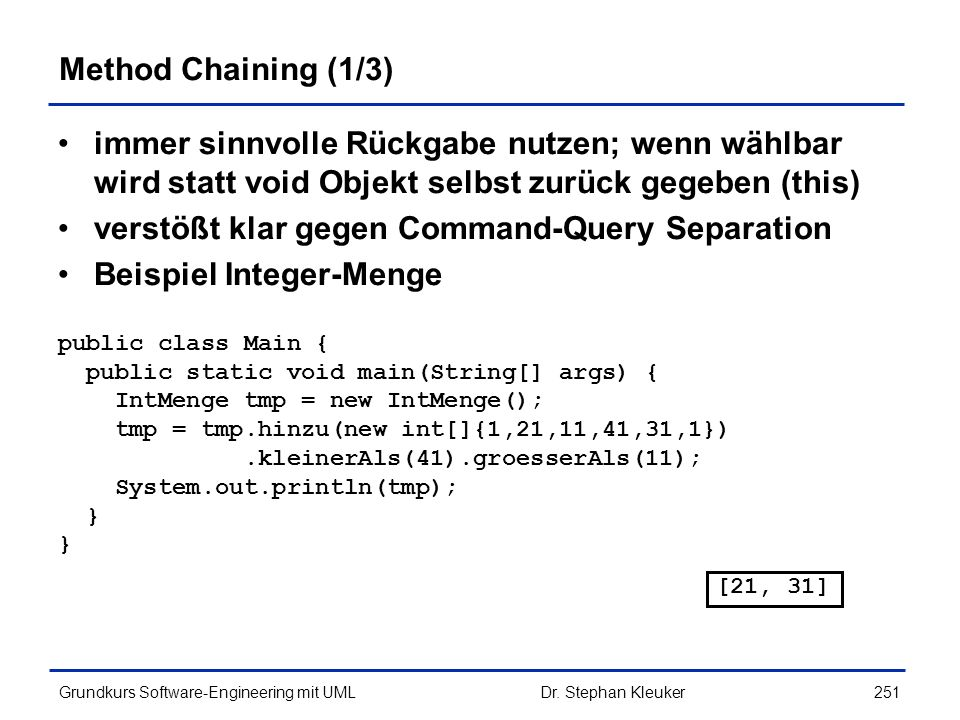 verstößt klar gegen Command-Query Separation Beispiel Integer-Menge