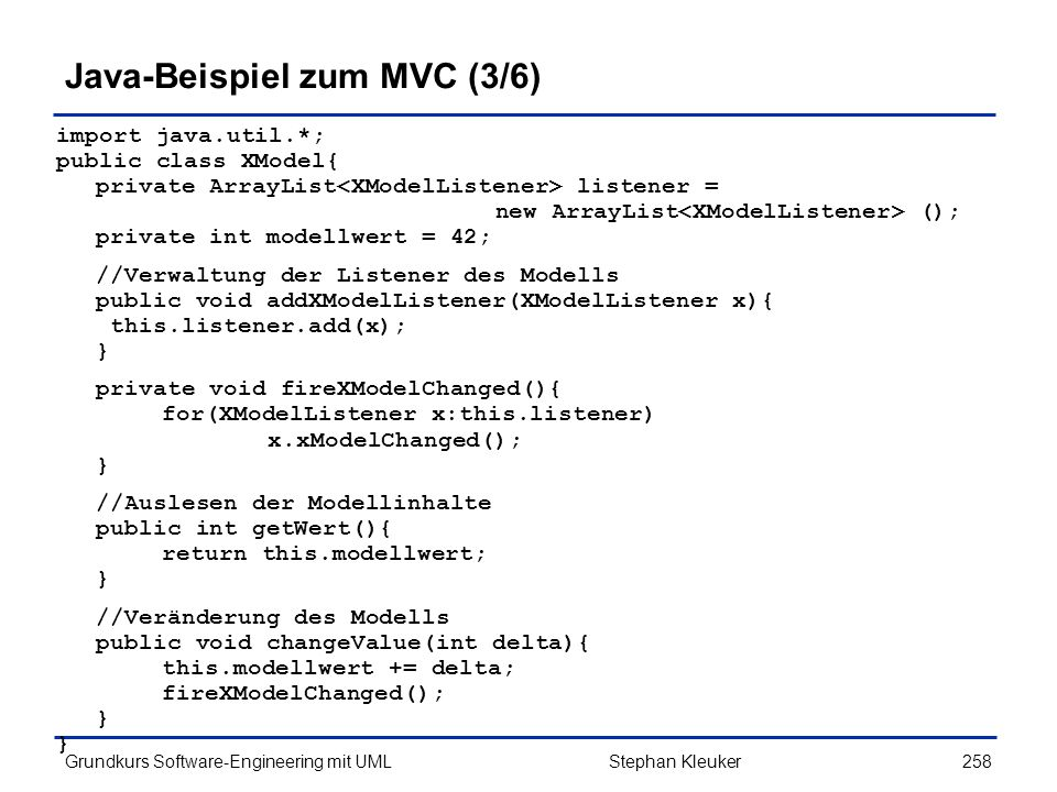 Java-Beispiel zum MVC (3/6)