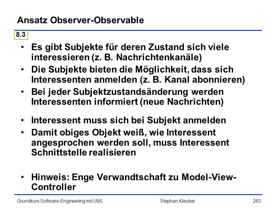 Ansatz Observer-Observable