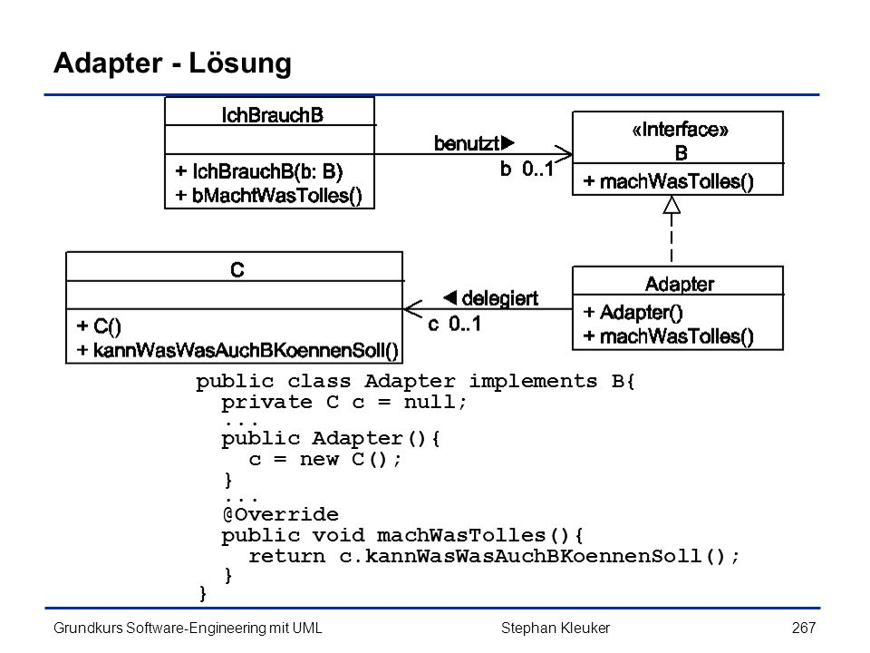Adapter - Lösung public class Adapter implements B{