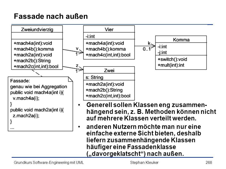 Fassade nach außen Generell sollen Klassen eng zusammen-hängend sein, z. B. Methoden können nicht auf mehrere Klassen verteilt werden.