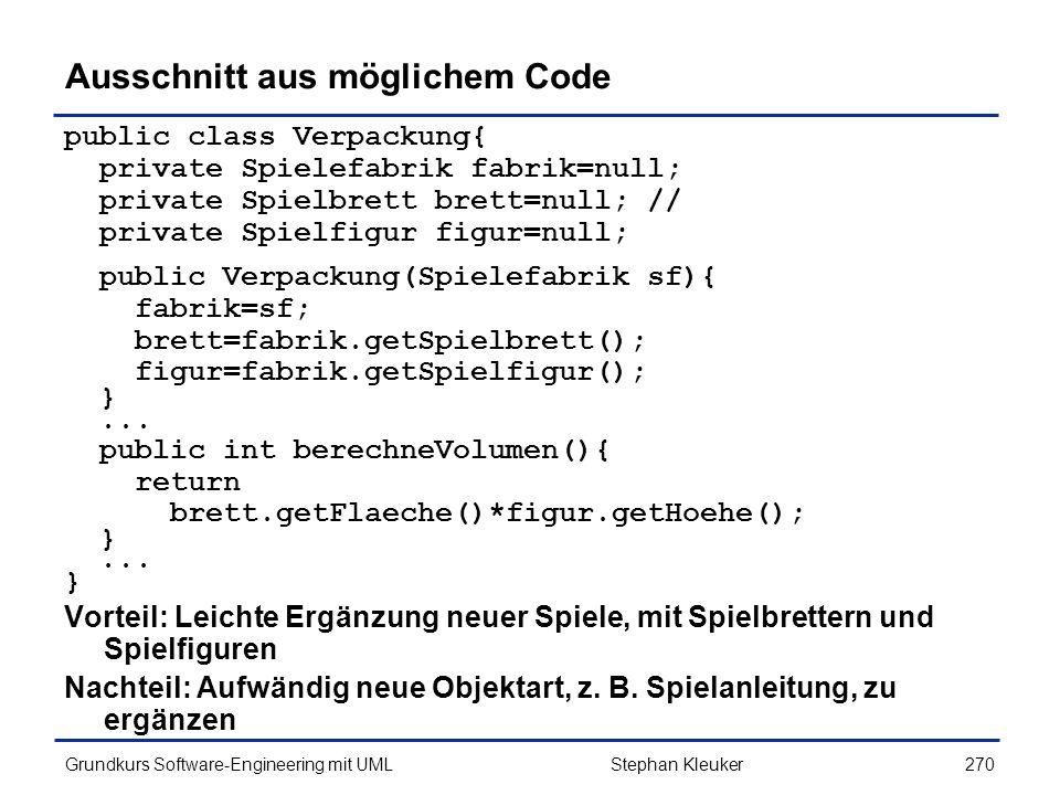 Ausschnitt aus möglichem Code