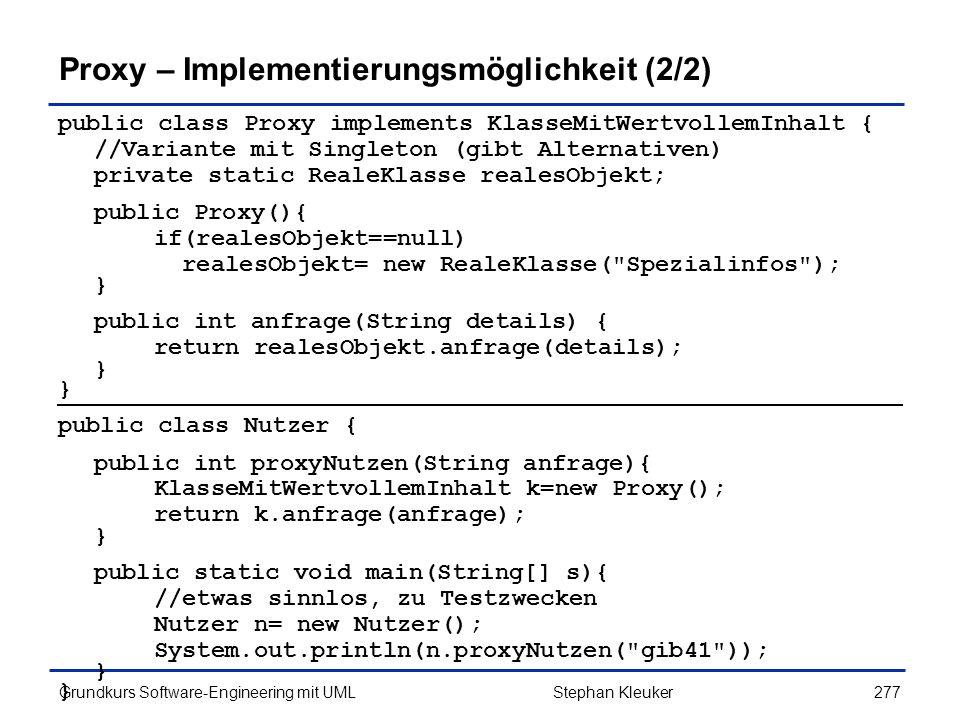 Proxy – Implementierungsmöglichkeit (2/2)