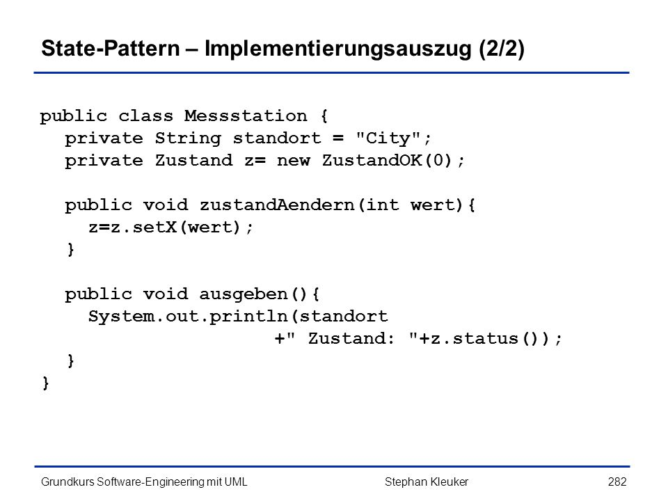 State-Pattern – Implementierungsauszug (2/2)