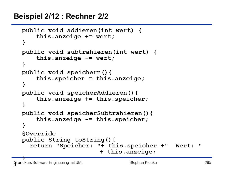 Beispiel 2/12 : Rechner 2/2