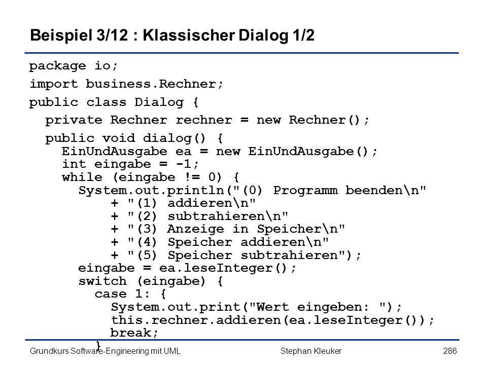Beispiel 3/12 : Klassischer Dialog 1/2