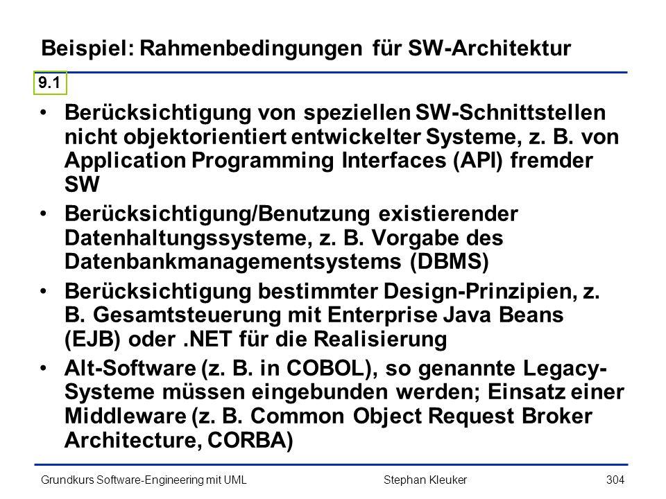 Beispiel: Rahmenbedingungen für SW-Architektur