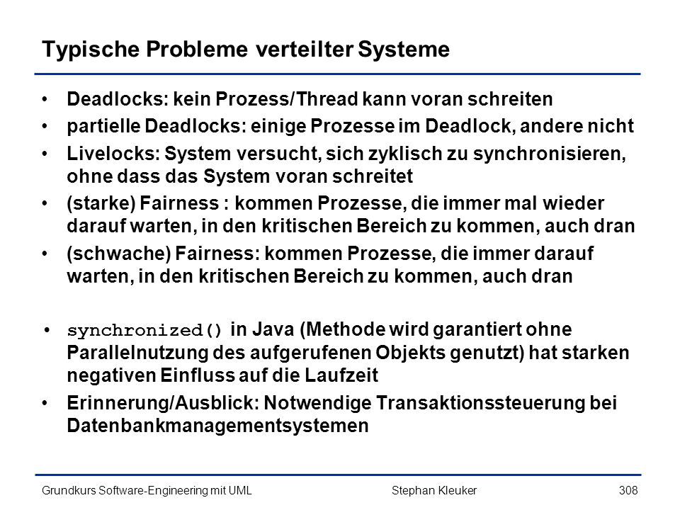 Typische Probleme verteilter Systeme