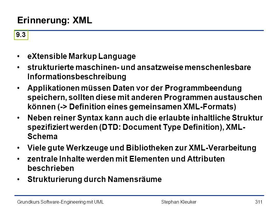 Erinnerung: XML eXtensible Markup Language