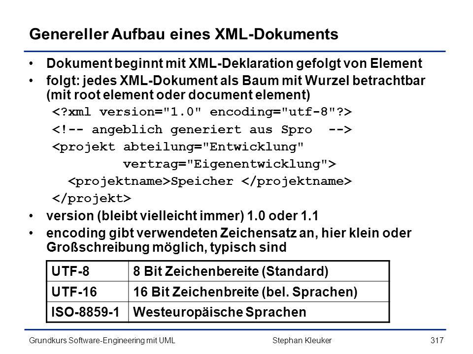 Genereller Aufbau eines XML-Dokuments