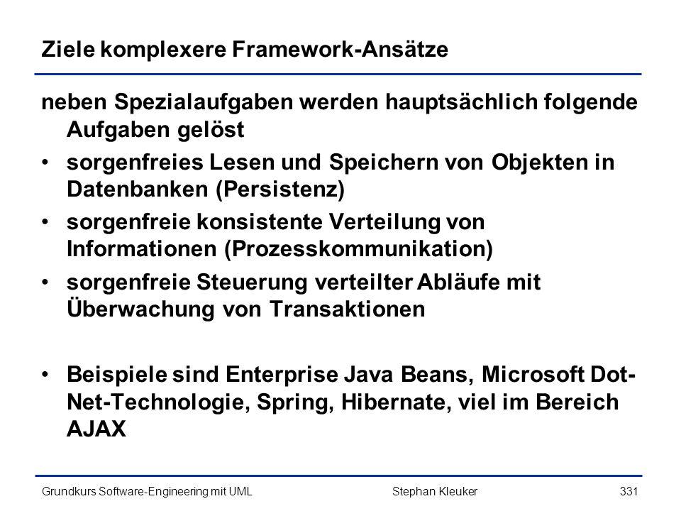 Ziele komplexere Framework-Ansätze