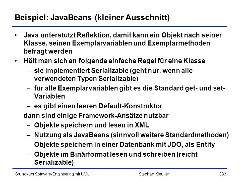 Beispiel: JavaBeans (kleiner Ausschnitt)