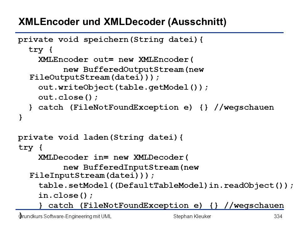 XMLEncoder und XMLDecoder (Ausschnitt)