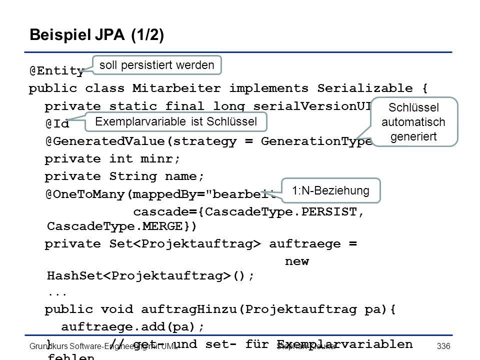 Beispiel JPA (1/2) @Entity