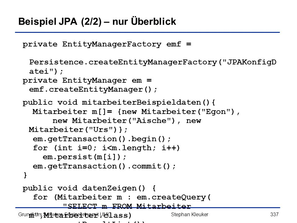 Beispiel JPA (2/2) – nur Überblick