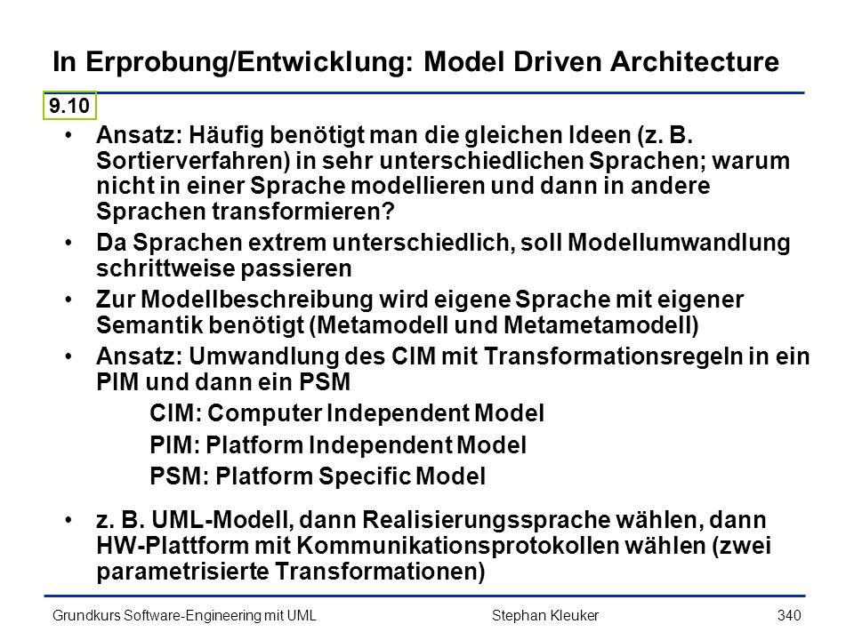 In Erprobung/Entwicklung: Model Driven Architecture