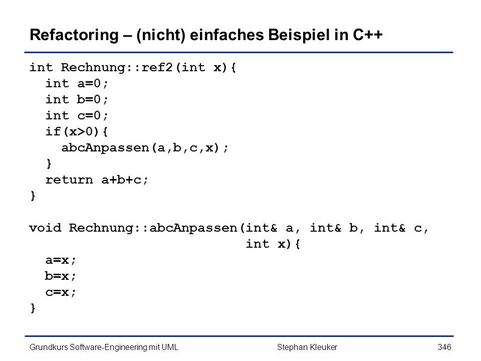 Refactoring – (nicht) einfaches Beispiel in C++