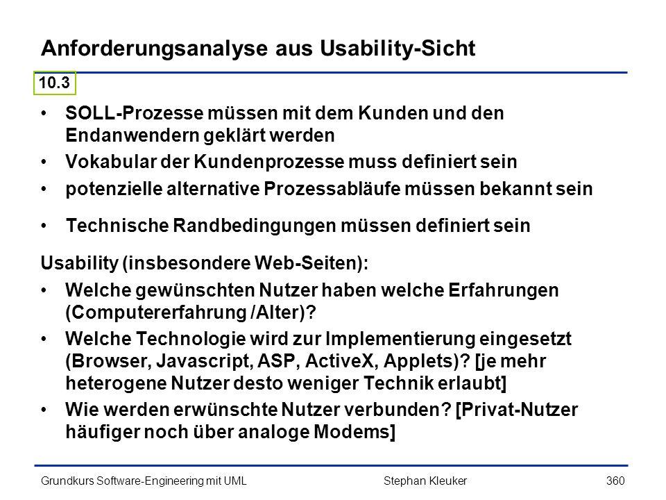 Anforderungsanalyse aus Usability-Sicht