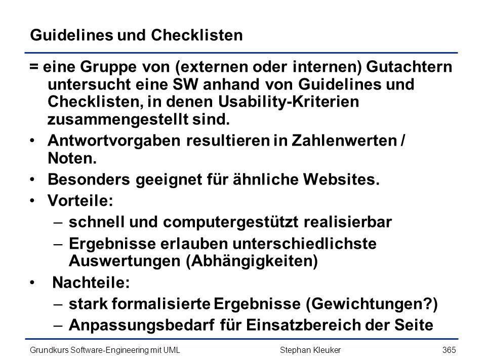 Guidelines und Checklisten