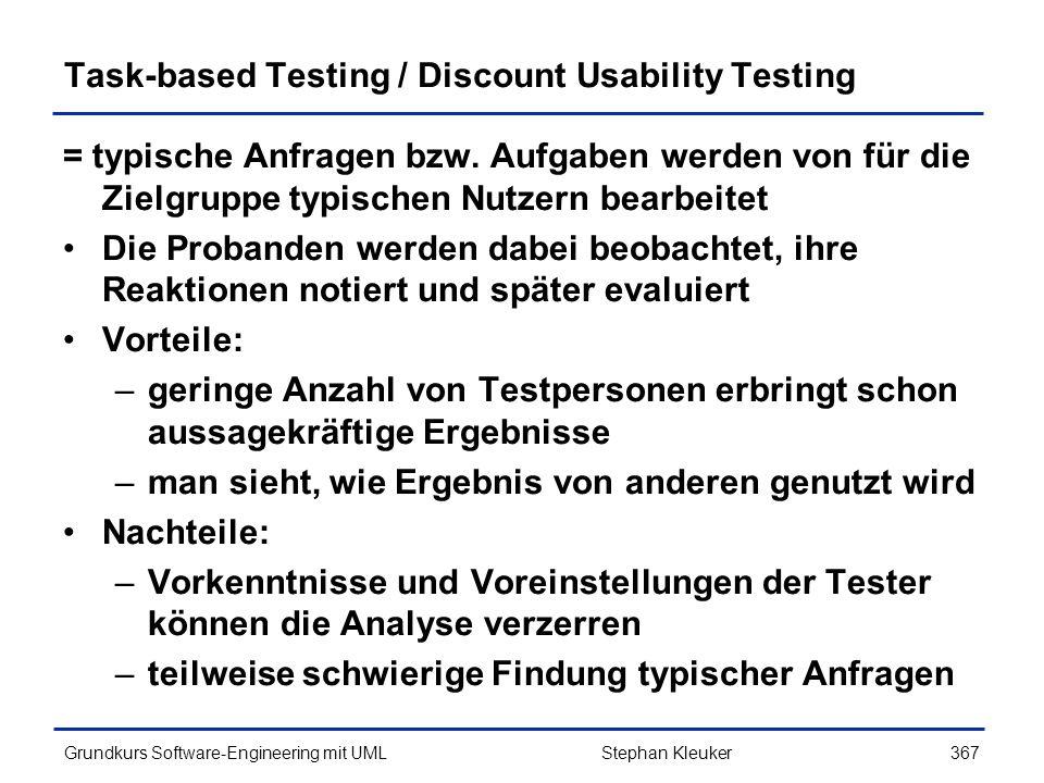 Task-based Testing / Discount Usability Testing
