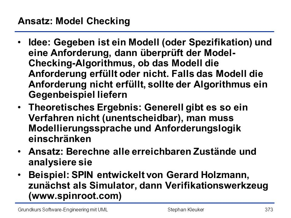Ansatz: Model Checking