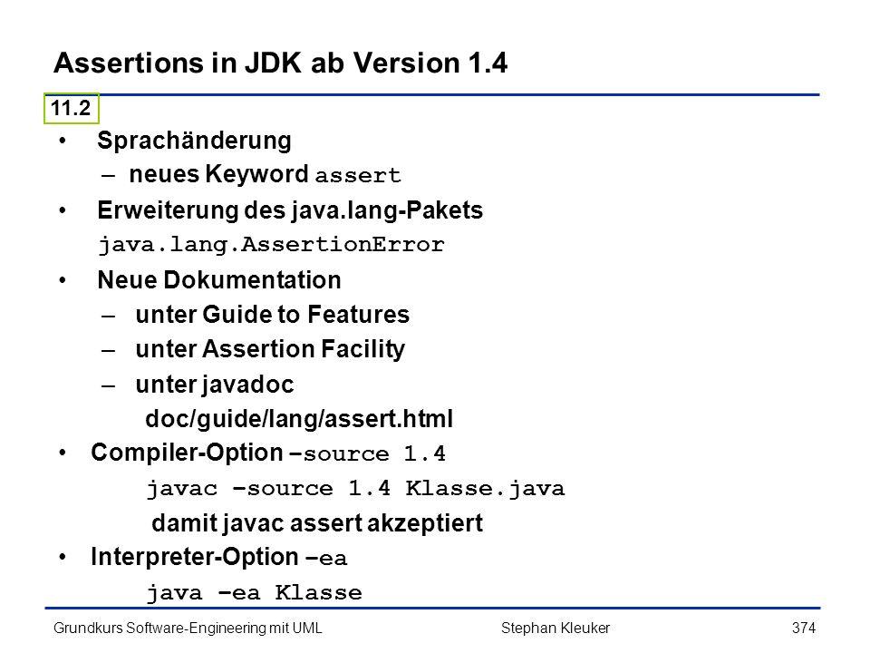 Assertions in JDK ab Version 1.4