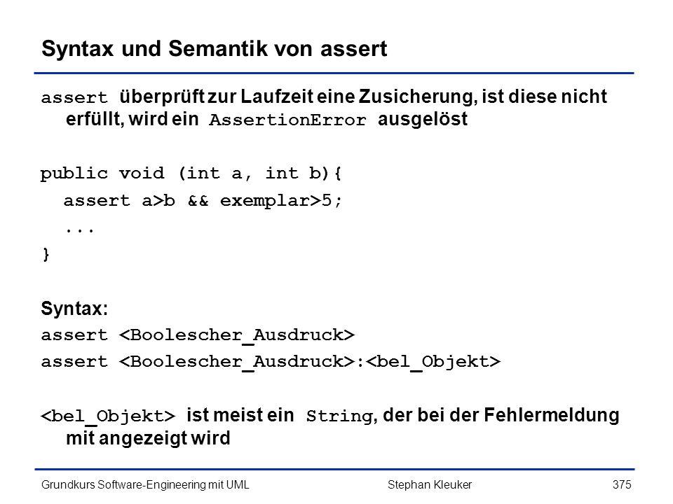 Syntax und Semantik von assert