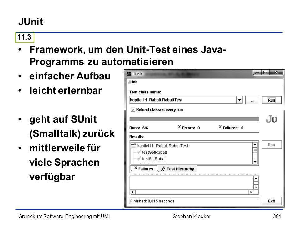 Framework, um den Unit-Test eines Java-Programms zu automatisieren