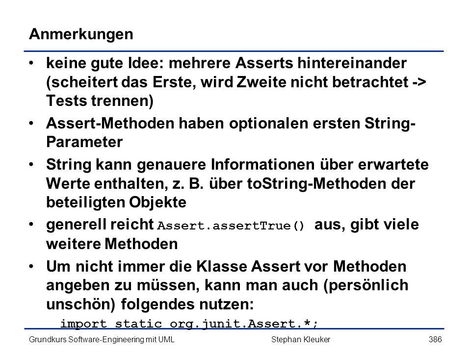 Assert-Methoden haben optionalen ersten String-Parameter