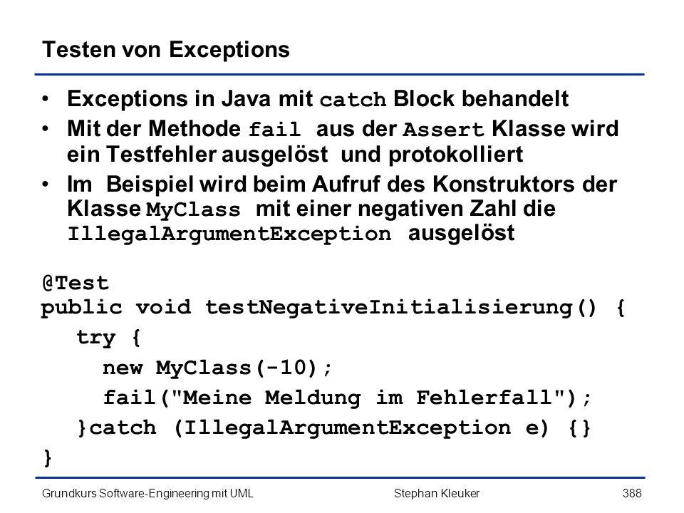 Exceptions in Java mit catch Block behandelt