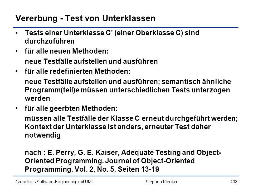 Vererbung - Test von Unterklassen