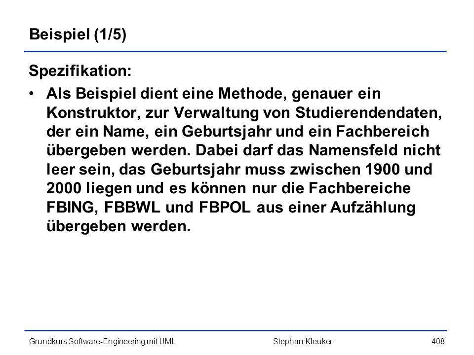 Beispiel (1/5) Spezifikation: