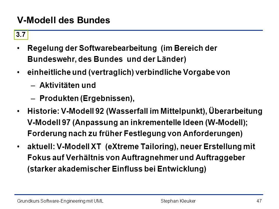 V-Modell des Bundes 3.7. Regelung der Softwarebearbeitung (im Bereich der Bundeswehr, des Bundes und der Länder)