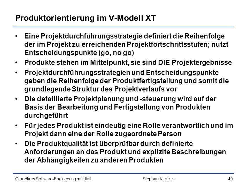 Produktorientierung im V-Modell XT