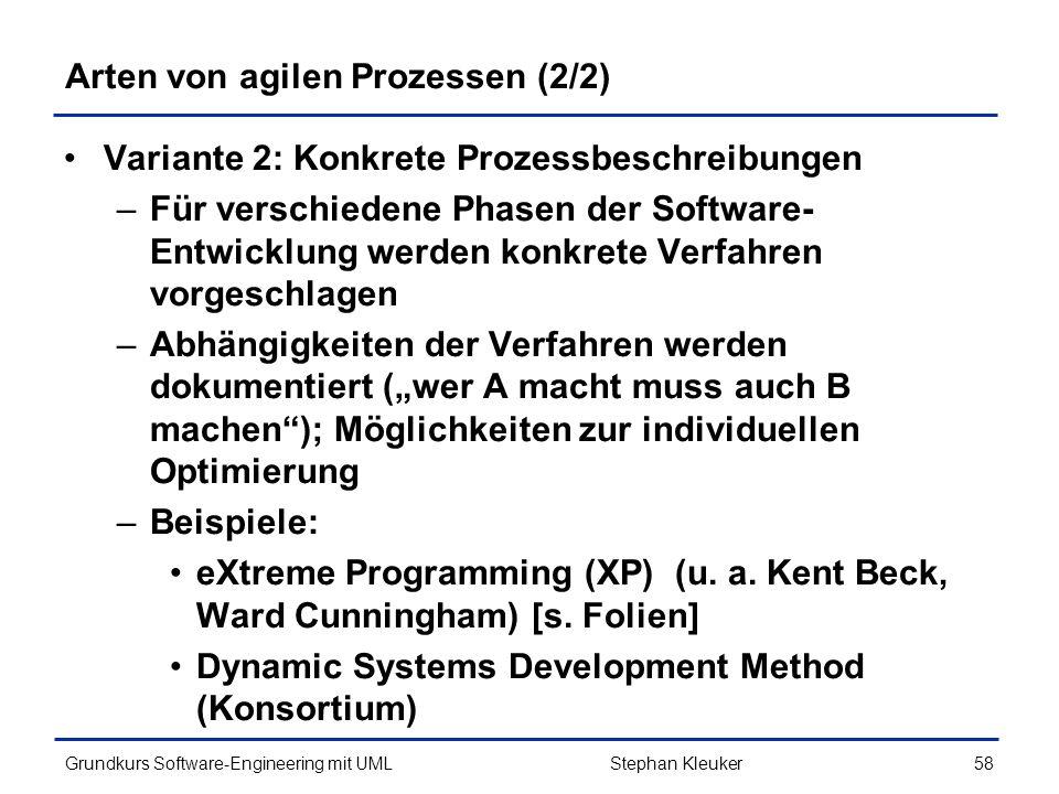 Arten von agilen Prozessen (2/2)