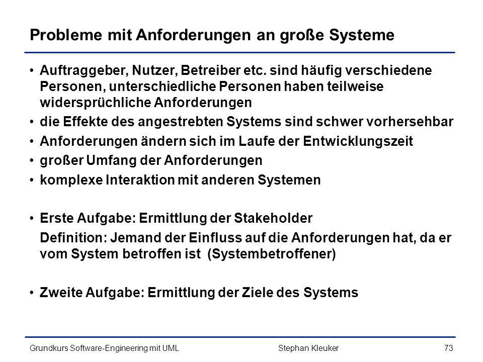 Probleme mit Anforderungen an große Systeme