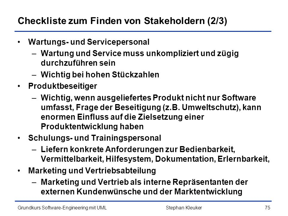 Checkliste zum Finden von Stakeholdern (2/3)