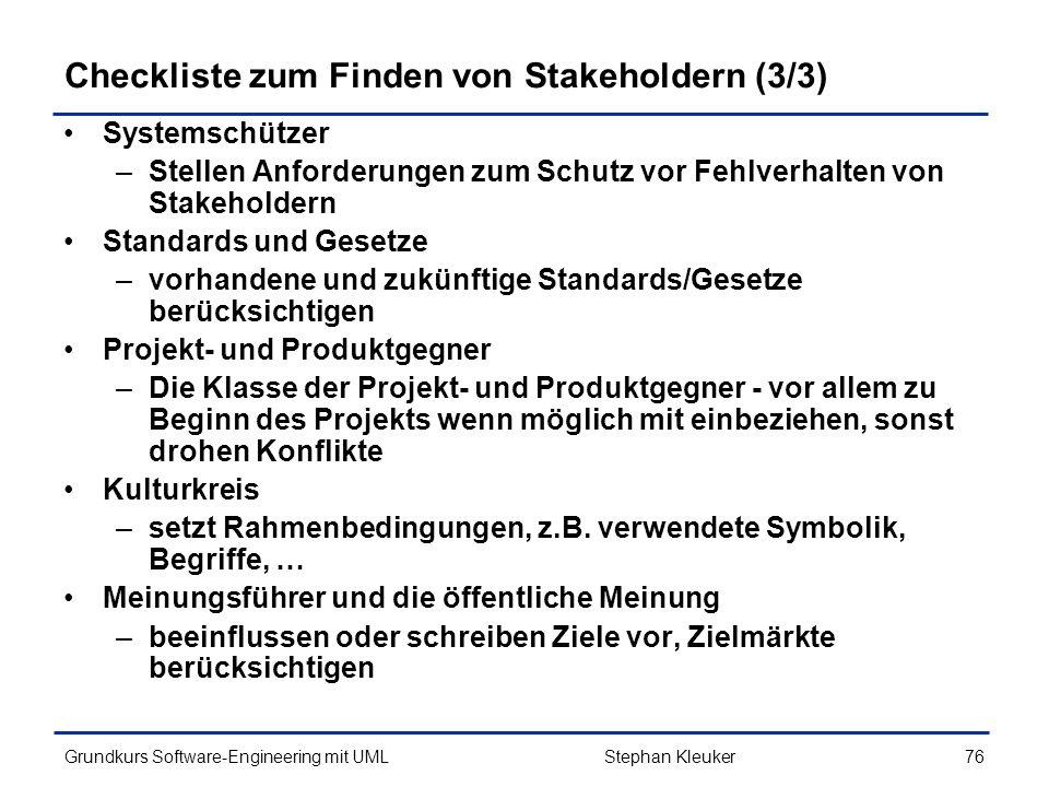 Checkliste zum Finden von Stakeholdern (3/3)