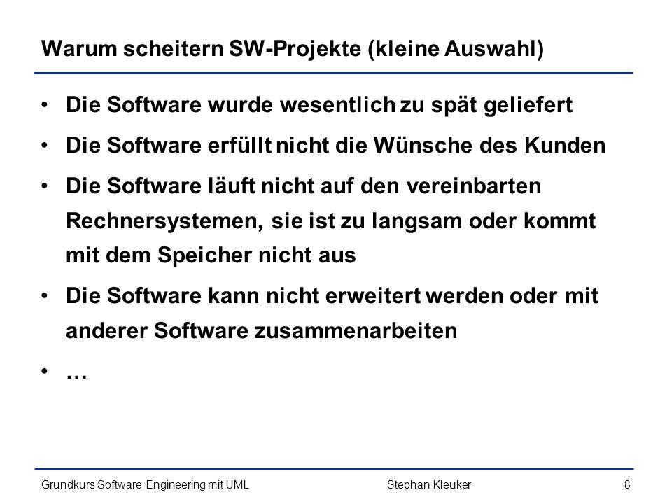 Warum scheitern SW-Projekte (kleine Auswahl)