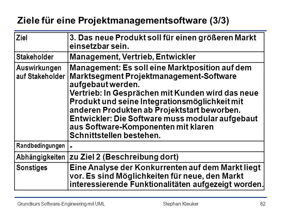 Ziele für eine Projektmanagementsoftware (3/3)