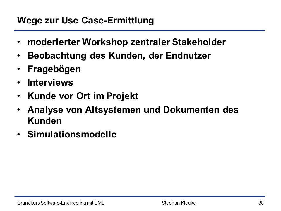 Wege zur Use Case-Ermittlung