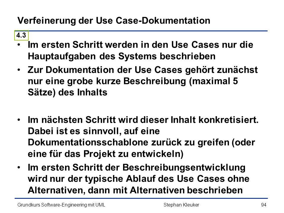 Verfeinerung der Use Case-Dokumentation