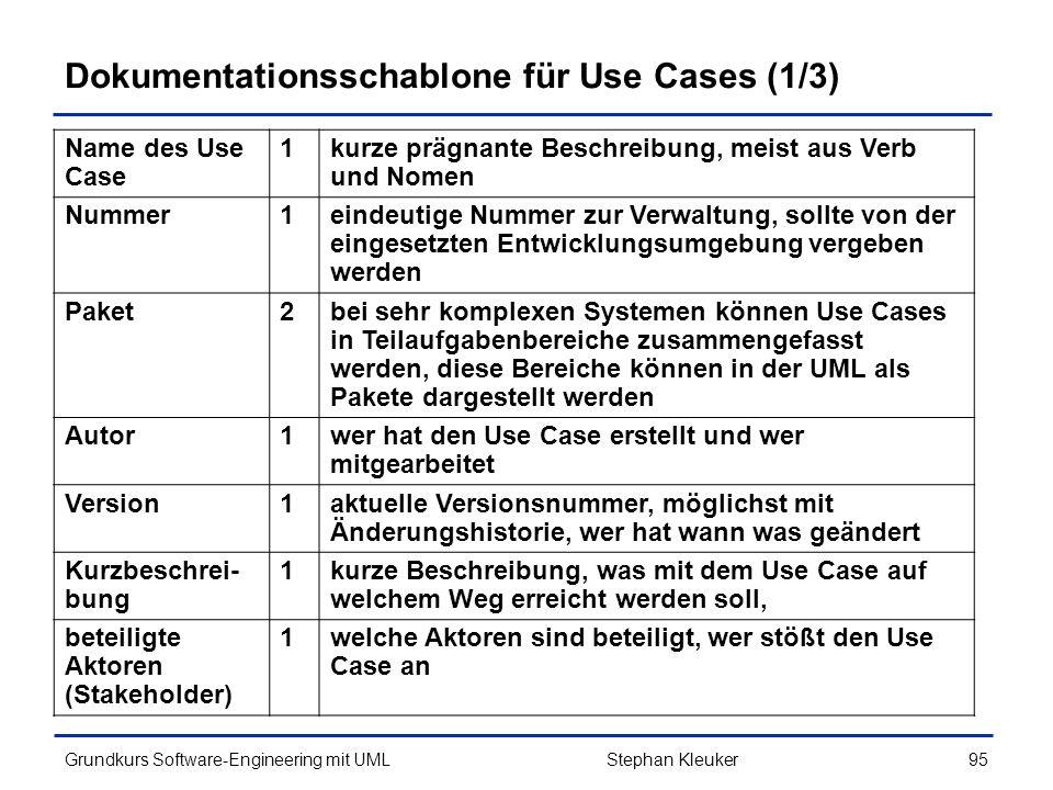 Dokumentationsschablone für Use Cases (1/3)