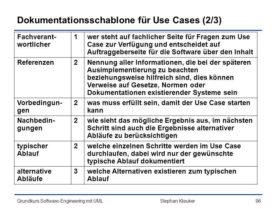 Dokumentationsschablone für Use Cases (2/3)