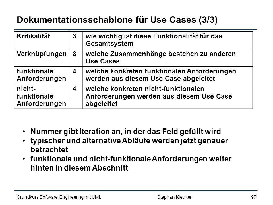 Dokumentationsschablone für Use Cases (3/3)