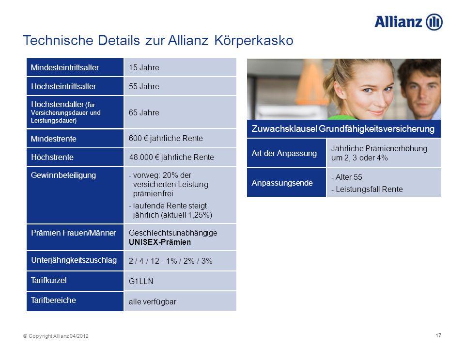 Technische Details zur Allianz Körperkasko