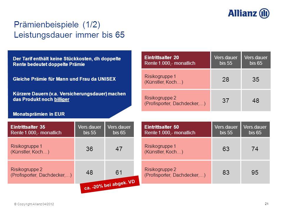 Prämienbeispiele (1/2) Leistungsdauer immer bis 65