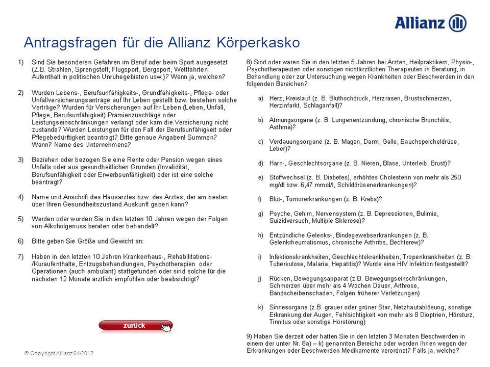 Antragsfragen für die Allianz Körperkasko