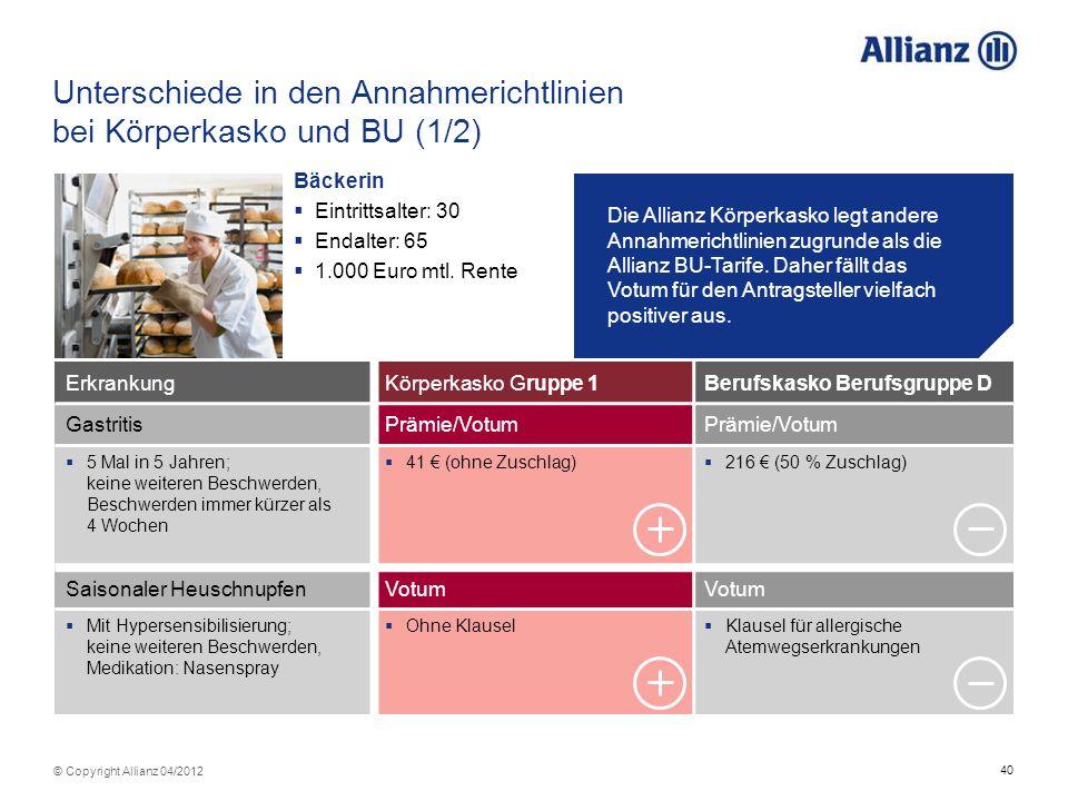 Unterschiede in den Annahmerichtlinien bei Körperkasko und BU (1/2)