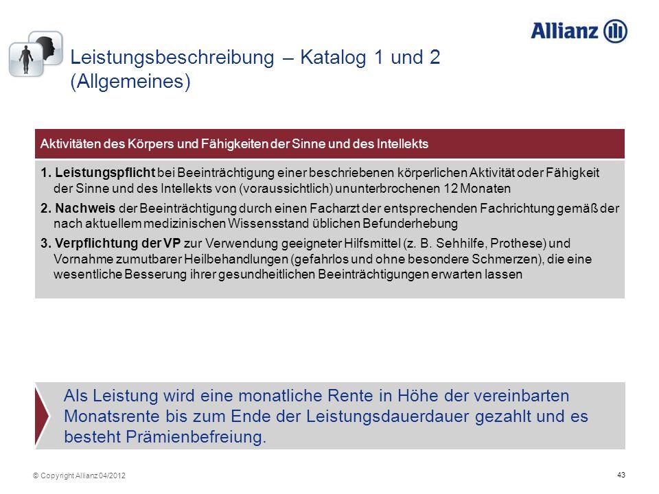 Leistungsbeschreibung – Katalog 1 und 2 (Allgemeines)